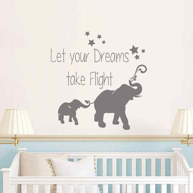 BATTOO Elephant Mom and Baby Wall Decal- Let your dreams take flight- Baby Nursery  sc 1 st  AliExpress.com : baby wall decals quotes - www.pureclipart.com