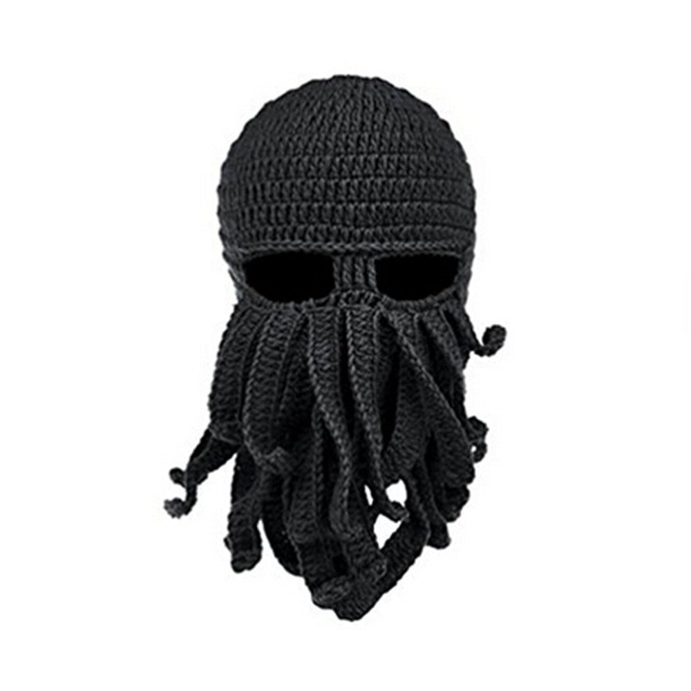 Funny Squid Cap Men Women Winter Warm Knitted Octopus Beanie Hat Windproof Face Mask Balaclava Party Cosplay