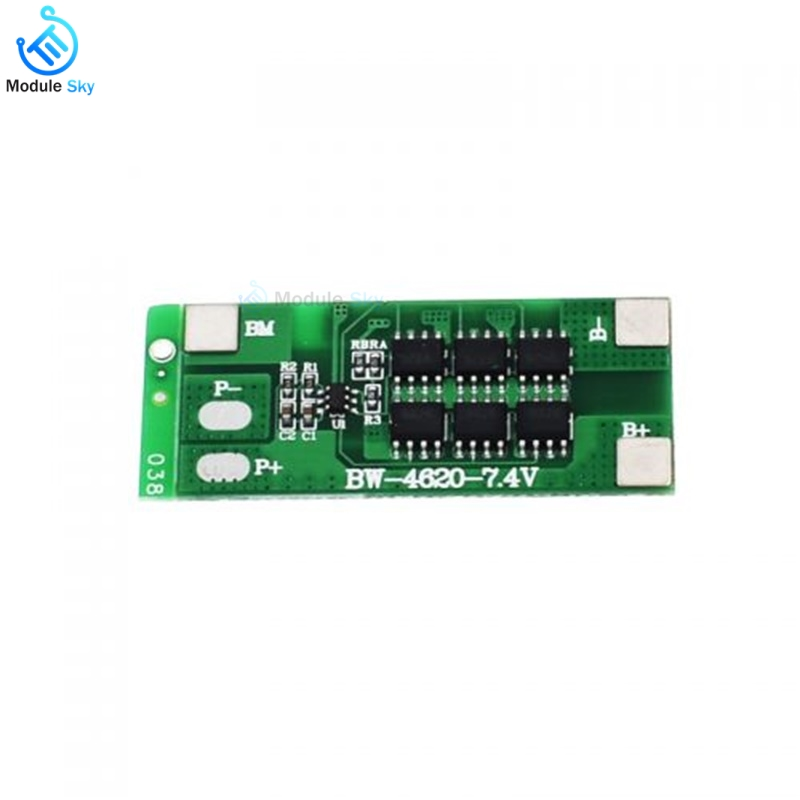 BMS 2S 12A 7.4V Li-ion 18650 Battery Charge Protection Board PCB Module Balancer Equalizer Board Power Bank Charging