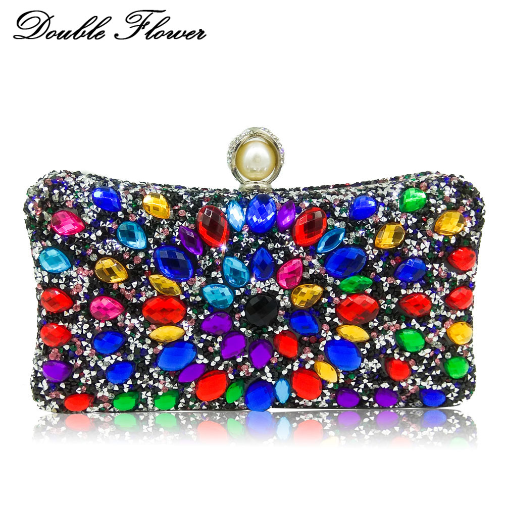 Double Flower Multicolored Crystal Women Evening Bags Pearl Clasp Hard Case Metal Bridal Diamond Clutch Handbag Purse