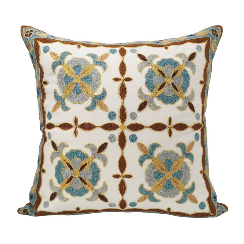 Contemporary Embroidery Fashion Cushion Cover Cotton Pillow Case Car Floor Hotel Sofa Home Decoration 45 x 45 cm Sell by piece
