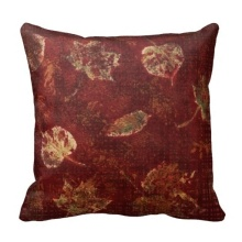 Active Deep Maroon Gold Fall Leaves Stencil Subtle Tartan Cushion Cover (Size: 45x45cm) Free Shipping