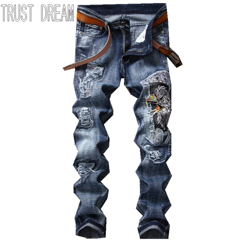 TRUST DREAM Europeans Designed Men Embroidered Eagle Ripped Hole Jean Casual Distressed Patchwork Slim Man Fashion Street Jeans l jean camp trust