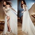 2016 Beach Wedding Dress Winter vestido de noiva Long Sleeve Appliques Crystal Wedding Gown robe de mariage casamento LBD20