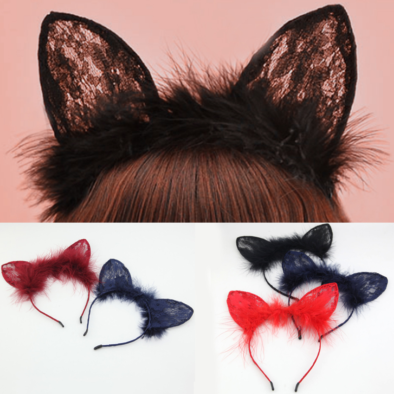 Fashion 1PC Women Girls Cat Ear Lace Feather Lace Cat Ears Headband Hair Bands Solid Color Bezel   Headwear   Hair Accessories