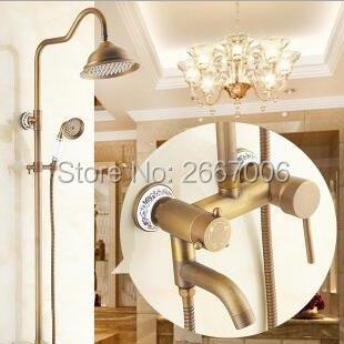 Morden ensemble de douche en céramique mur Antique cuivre robinet de bain douche meilleur cadeau mélangeur de douche amélioration de la maison livraison gratuite GI239