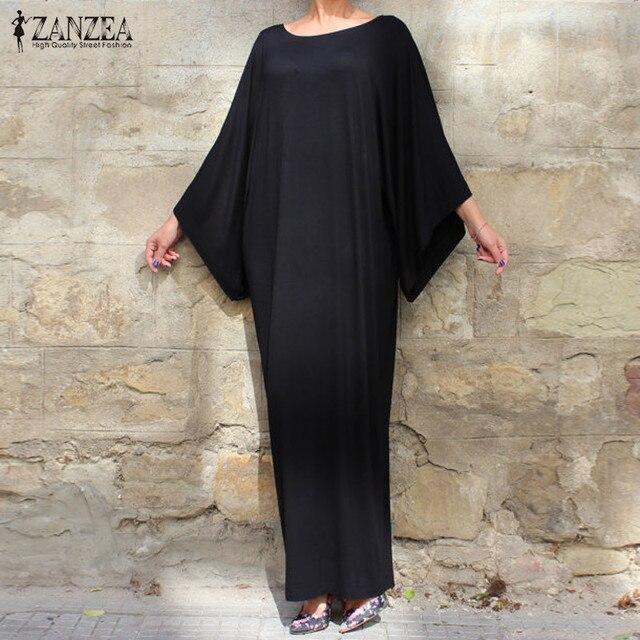 ZANZEA Women Casual Loose Long Dress 2017 Ladies Elegant 3/4 Batwing Sleeve O Neck Solid Floor-Length Dress Vestidos Plus Size