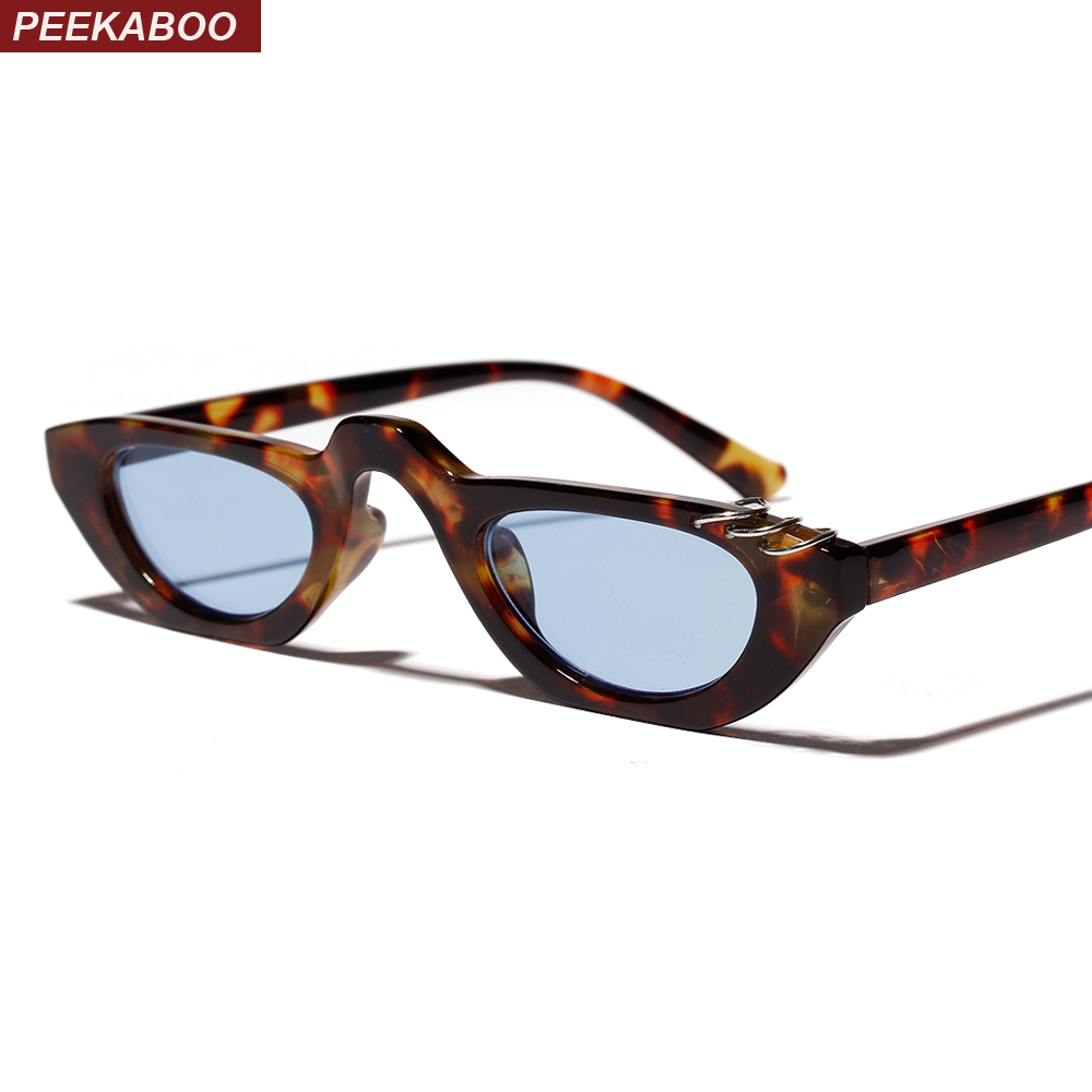 Peekaboo vintage tiny sunglasses for women 2019 summer black leopard blue ladies small sun glasses for men retro Christmas gift