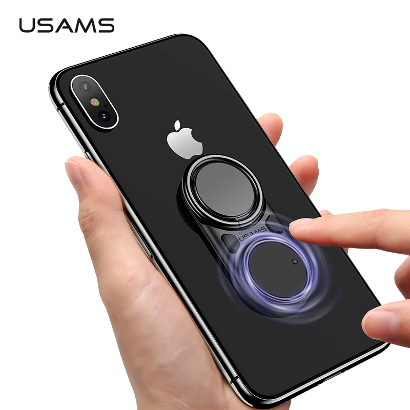 USAMS Fun Decompression Finger Ring Holder Magnet Stand Metal 360 Rotating Mobile Phone Bracket For Huawei IPhone X XS Samsung
