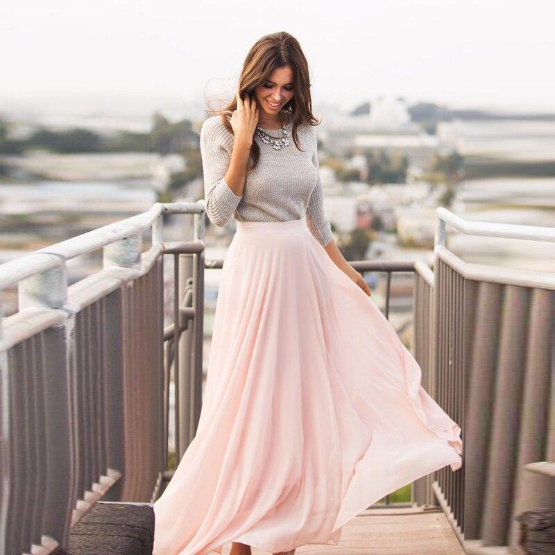 f12f5afeb42 Any Color Free Chiffon Long Skirt High Waist Floor Length Women Pale Pink  Maxi Skirt Zipper Style High Quality Women Clothing