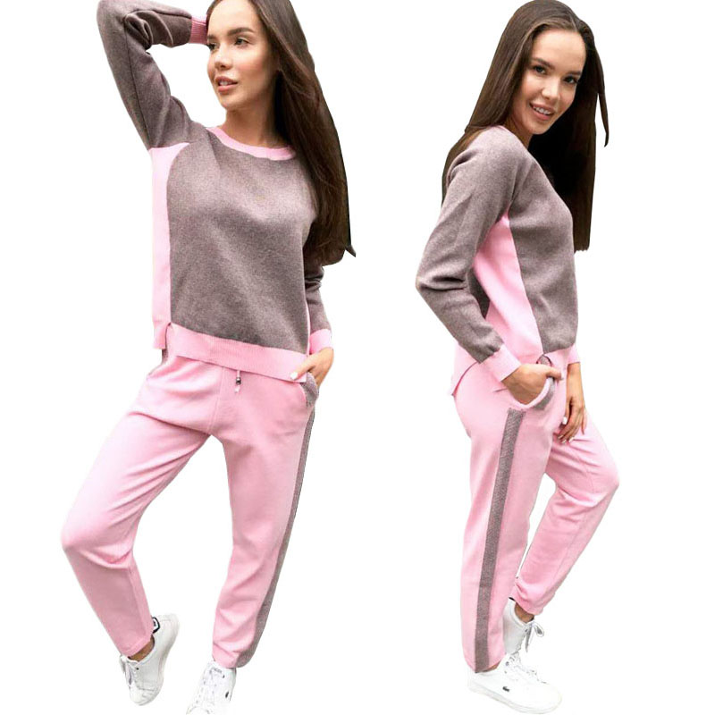 blue Khaki Maglione Di Vestito Irregolare Pantaloni Lavorato Nuovo pink Camicetta Strisce Maglia Pullover Set Pezzi A gray Due Womans Tuta pTqw4a