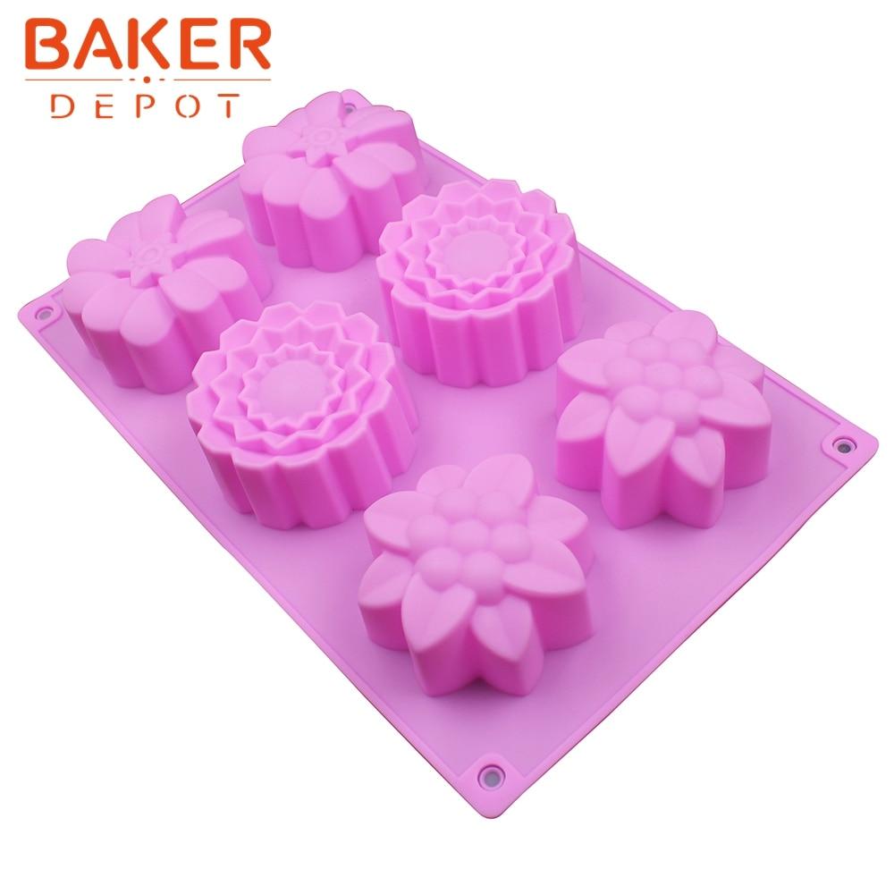 silikonový tvarový koláč ruční mýdlová forma 6 mřížky 3 různé kousky na pečení pečiva Formy na výrobu kelímků SSCM-001-21