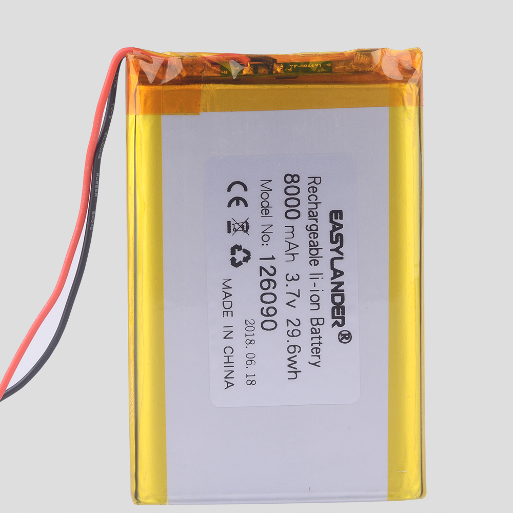 126090 3.7v <font><b>8000mAh</b></font> lithium ion rechargeable Polymer <font><b>battery</b></font> Replacement With PCB for MP4 MP5 GPS POWER BANK <font><b>Tablet</b></font> MID Toys image