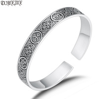 100% 999 Silver Fengshui Four Mythic Beasts Bangle Pure Silver Good Luck Animals Bangle Man Bangle