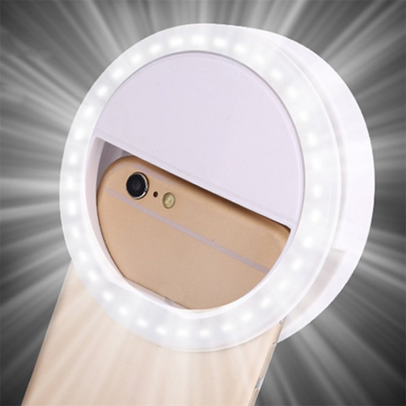 Portable Mobile Phone LED Selfie Lamp Universal Selfie LED Ring Flash Light Luminou Ring Clip For IPhone Huawei Samsung Xiaomi