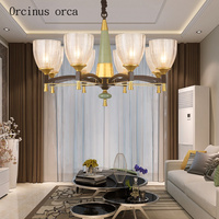 American garden green ceramic chandelier living room bedroom modern simple and creative personality LED chandelier
