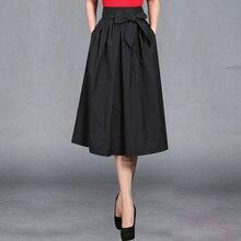 Spring Autumn Pleated Skirt Women 2018 Korean Fashion Bowknot High Waist Wide Hem Midi Length Long Retro Skirts jupe longue