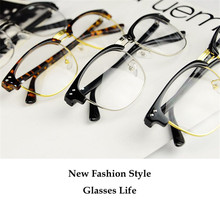 Metal half-rim frame glasses retro men reading Glasses UV protection glass without magnification