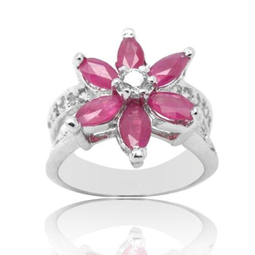Anillos Qi xuan_anillo de flor de piedra roja _rojo real Red anillo rojo sólido de plata de moda