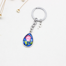 Fairy Tale Pendant Key Chain Romantic Couple Blue Rose Glass Heart Mermaid Tears Gift for Her