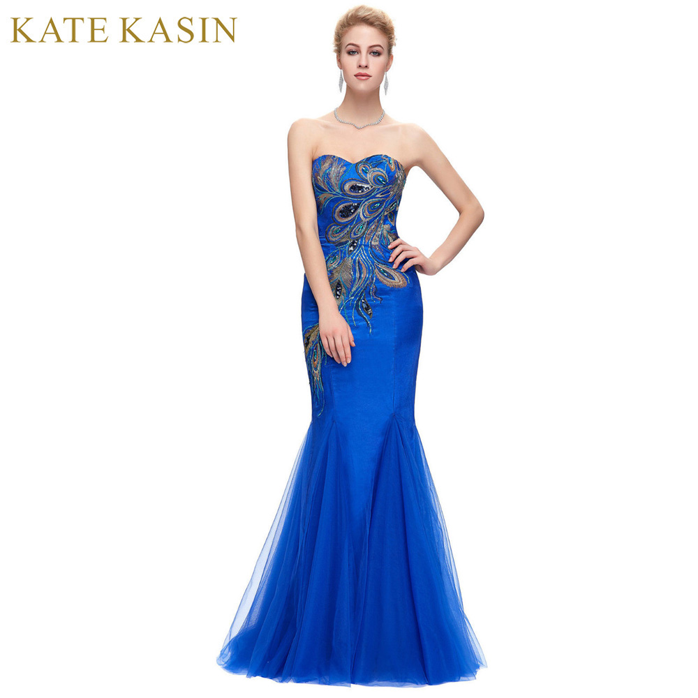 Luxury Peacock Appliques Mermaid Long Evening Dresses 2017 Royal Blue Black Tulle Prom Dress Evening Gown