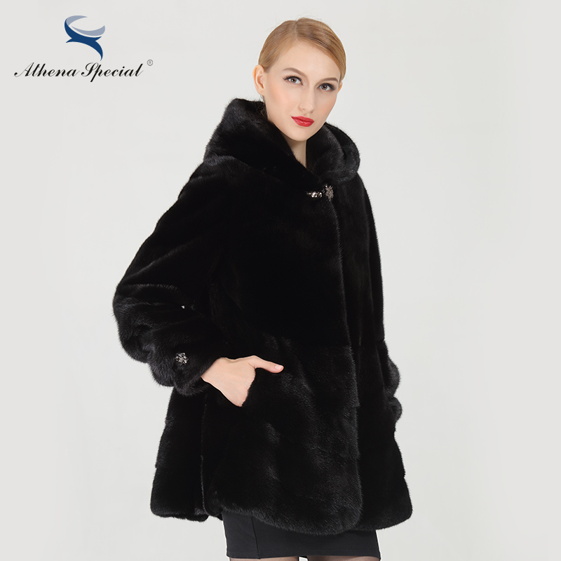 Athena Special Black Short Length Women Mink Coats From Real ...