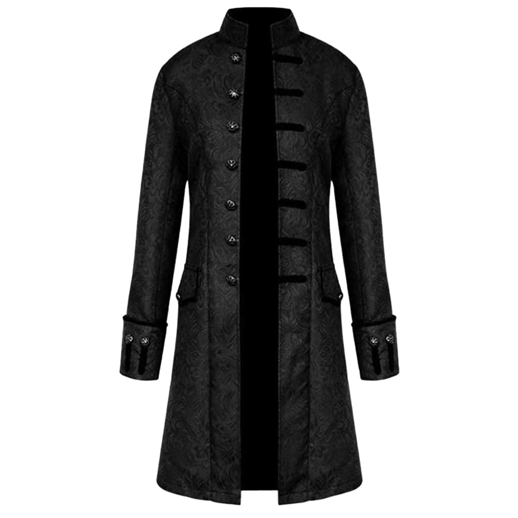 Men Jacket Trench-Coat Windbreakers Vintage Gothic Preppy Long Men's Fashion Casual Warm title=