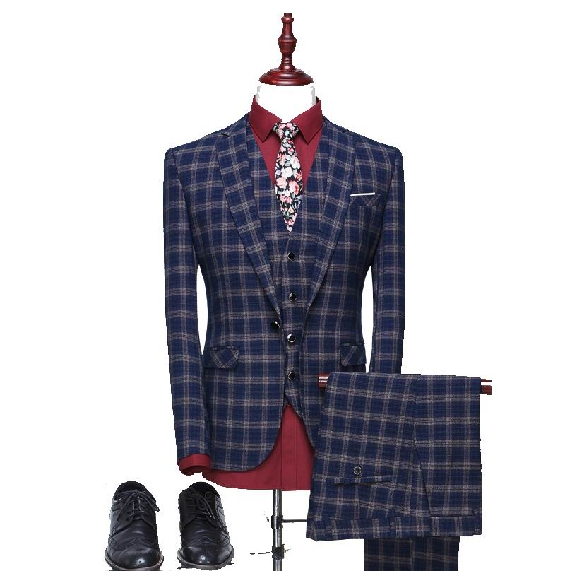 2017 High quality plaid wedding suits men,blazer men,wedding dress,navy blue,blue,gray m ...