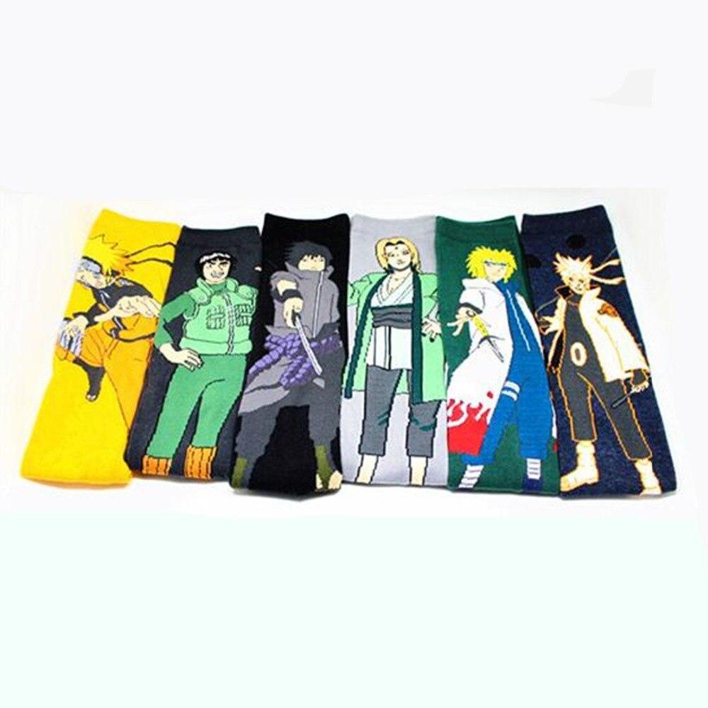 Japanese Anime Uzumaki Naruto Socks Tsunade Rock Lee Novelty Personalized Men Sock Comfort Sweat Absorbent Jacquard Cotton Socks