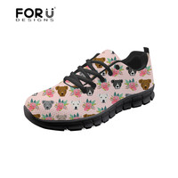 FORUDESIGNS Pitbull Terrier Floral Printing Women's Flats Shoes Breathable Casual Shoes for Female Platform Sneakers Ladies Shoe