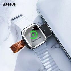 Baseus qi carregador sem fio para apple watch 4 3 2 1 i série portátil rápida doca de carregamento sem fio magnético carregador usb para iwatch