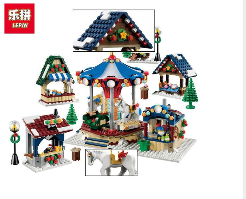 2017NEW Lepin 36010 1412 Pcs Christmas Series Creator Winter Village Market Building Blocks Bricks Educational Toys For Children lepin 36010 genuine creative series the winter village market set legoing 10235 building blocks bricks educational toys as gift
