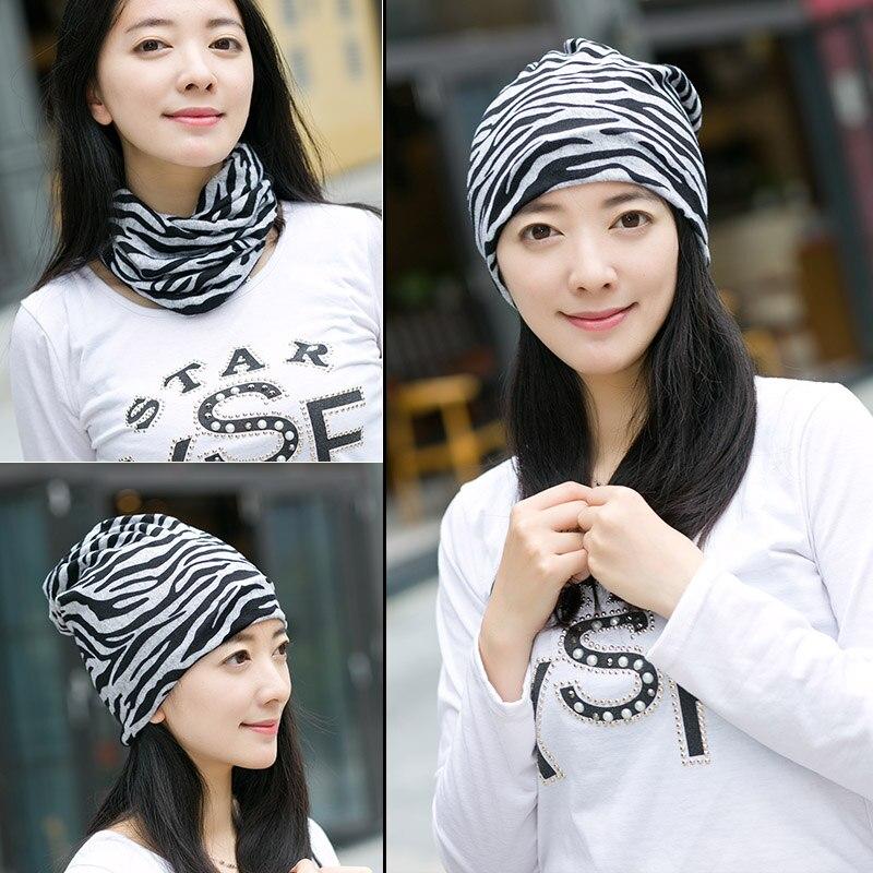 цена на Miya Mona Autumn Winter Women Hat Scarf Letters Hip-Hop Girl Beanies chapeau Cotton Hedging Cap Zebra pattern warm dicer