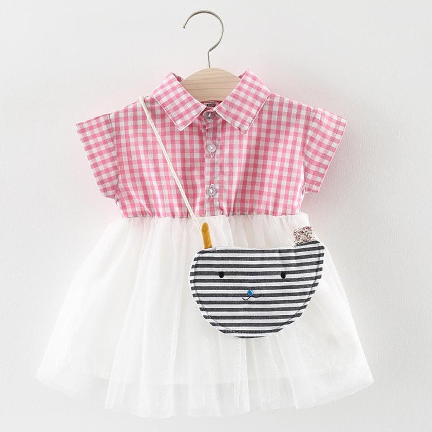 fashion Toddler Baby Girls summer dress Sleeveless Plaid Clothes Party costume for girls princess Dresses 2018 baby Clothing