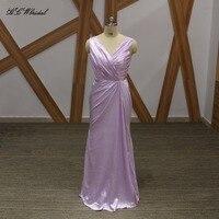 Light Lavender Mermaid Bridesmaid Dresses 2018 Pleat Elastic Satin Floor Length Long Maid Of Honor Dress