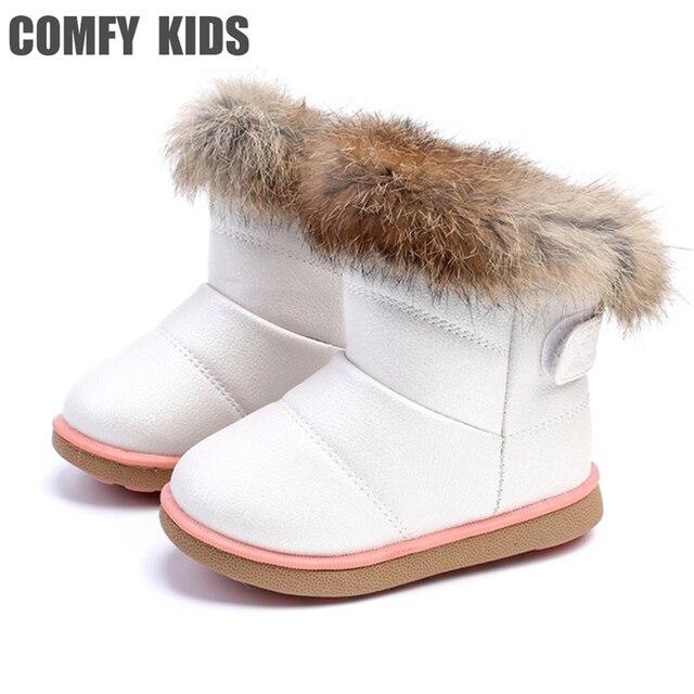 Удобные детские зимние модные зимние сапоги для девочек, теплые плюшевые сапоги с мягкой подошвой для маленьких девочек, кожаные зимние сапоги для малышей