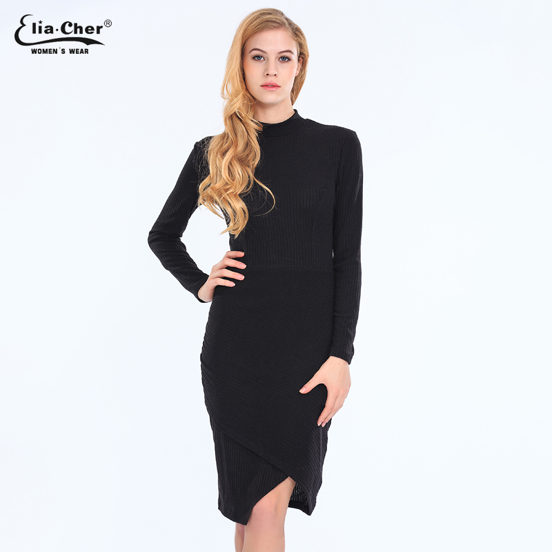 Elia cher Brand Women Dress 2016 Bodycon Winter Dresses Plus Size Women Clothing Sexy Sweater Midi Dresses vestidos 6726