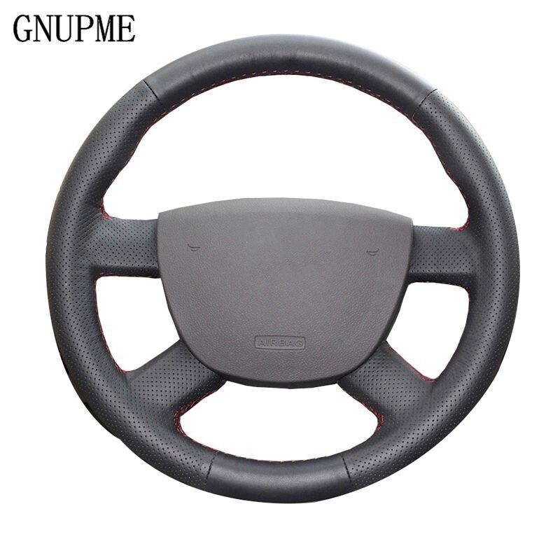 Noir En Cuir Véritable Couverture De Volant de Voiture pour Ford Kuga Mondeo Point 2 2005-2015 (3-Parle)