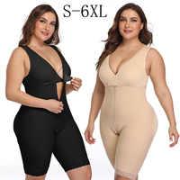 Plus Size 6XL Latex Women's Body Shaper Post Liposuction Girdle Clip Zip Bodysuit Vest Waist Shaper Reductoras Shapewear