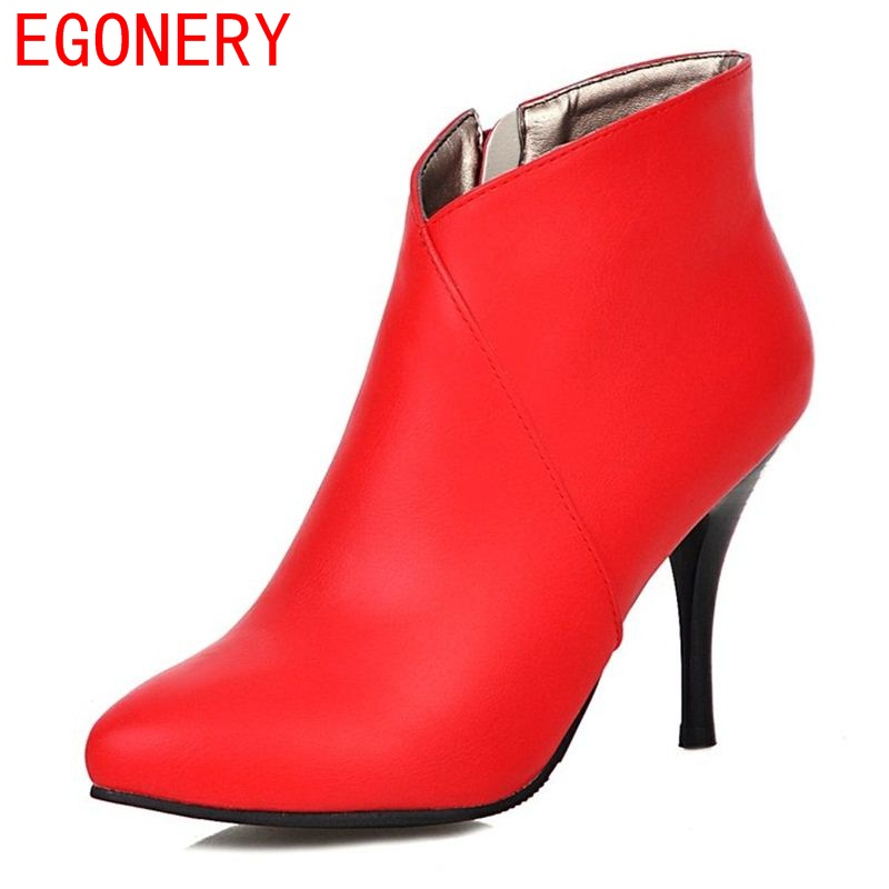 EGONERY shoes 2017 women ankle boots fashion riding boots side zipper sexy pointed toe thin heels short plush shoes size 34-39 vankaring shoes 2017 women ankle boots side zipper square toe hoof heels comfortable high quality short plush blet buckle boots