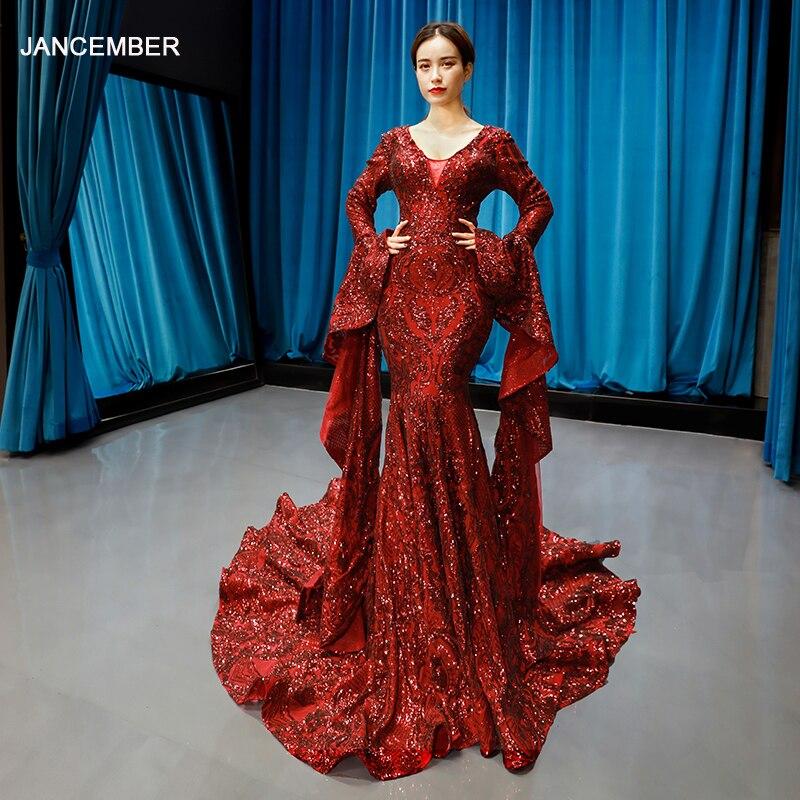 J66740 jancember mermaid prom vestidos longos vestidos de noite com decote em v de mangas compridas vestido de noite vermelho noiva festa abiye gece elbisesi