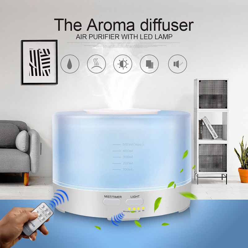 500ML Ultrasonic Air Humidifier Remote Control 7 Changing Colors LED Ultra-Quite The Diffuser De Aroma Essential Oil Diffuser aroma oil diffuser ultrasonic humidifier remote control 10s 2h 4h timer 500ml tank lamp wood ultrasonic humidifiers for home