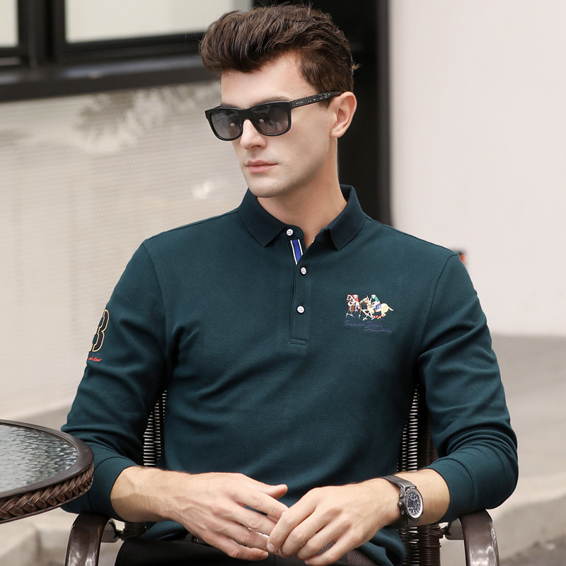 Babykleidung Mädchen GüNstiger Verkauf Frühling Herbst Neue Langarm Hohe Qualität Männer Polo Shirt Männer Baumwolle Business Casual Homme Feste Camisa Plus Größe Xxxl 6625