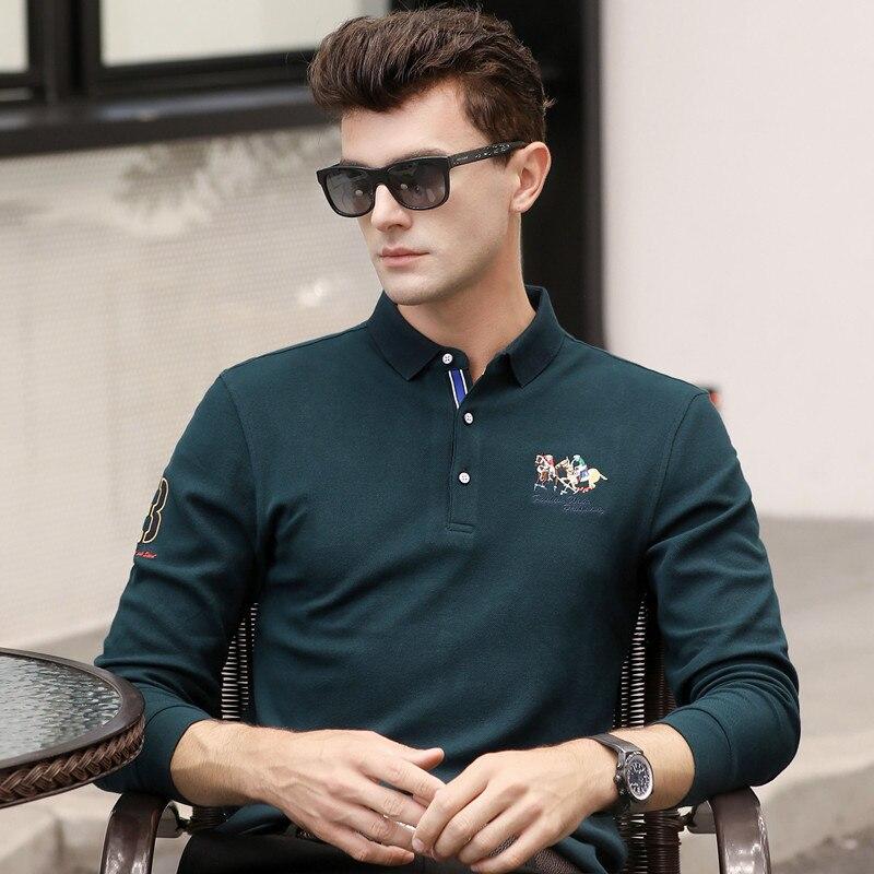 Printemps automne nouveau à manches longues de haute qualité hommes polo shirt hommes coton casual homme solide camisa plus la taille XXXL 6625
