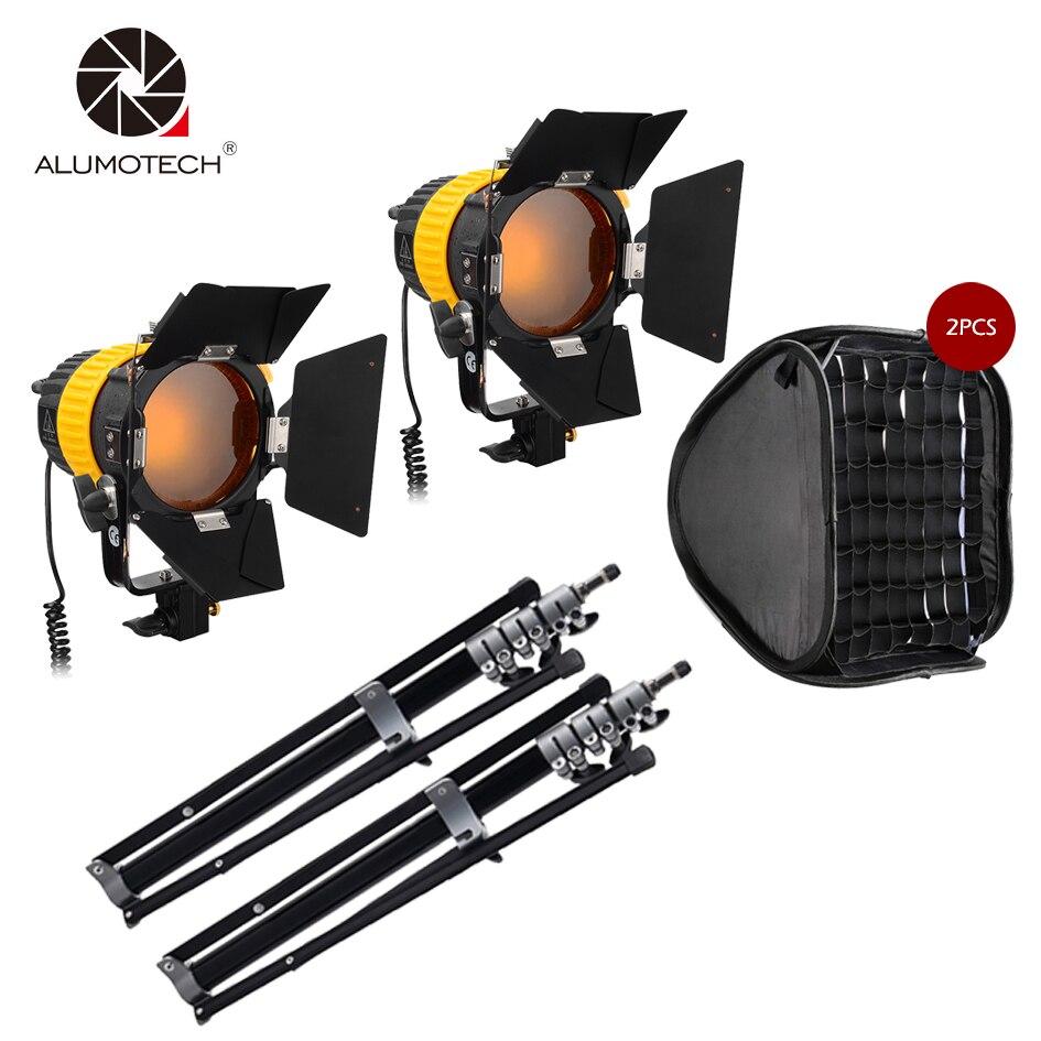 2XV-lock 80W lumière LED haute CIR 5500/3200K + 2xbowen Speed Mount Softbox + 2X2.1m support pour caméra vidéo Studio photographie Kit d'éclairage