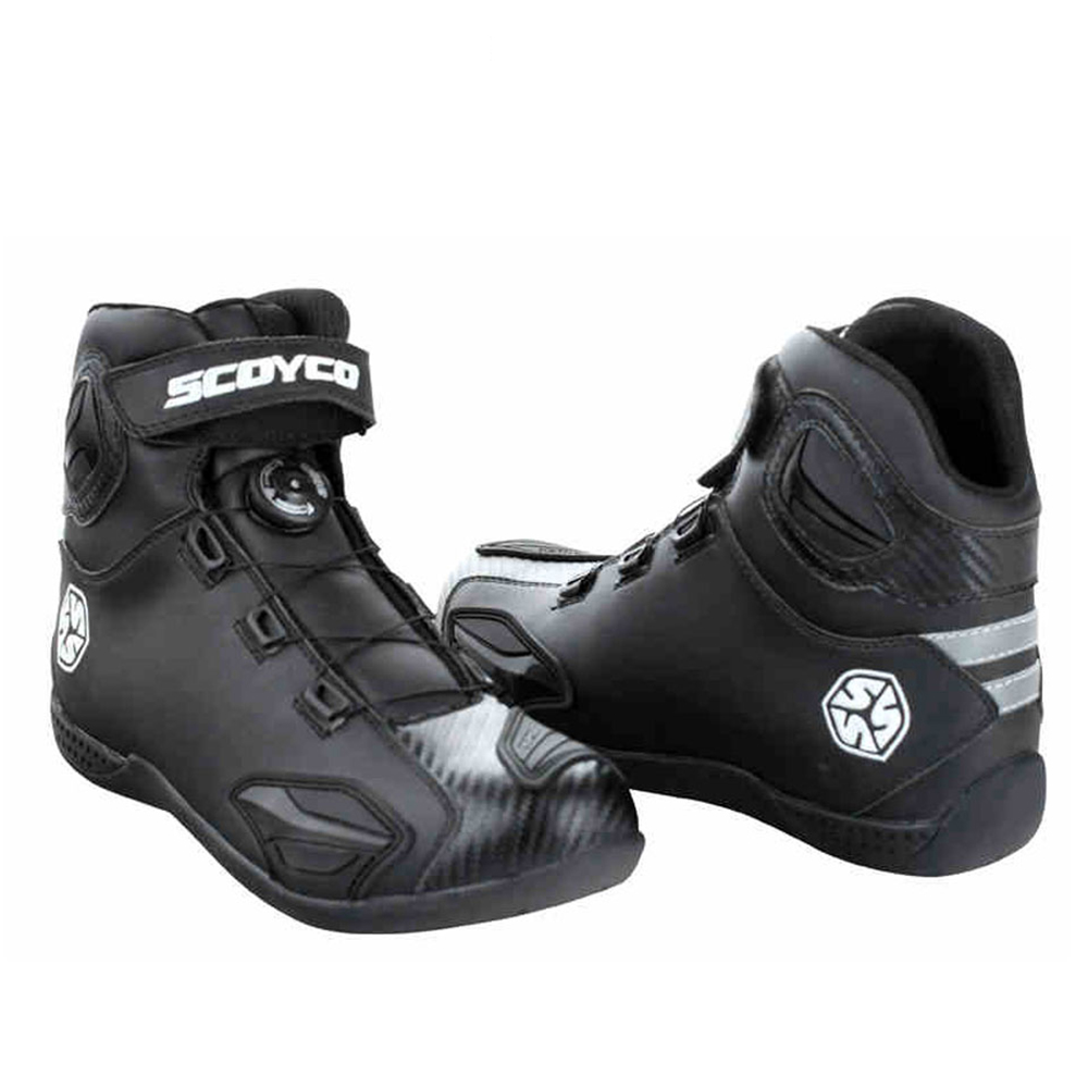 Buy Scoyco Motorcycle Boots Leather Motocross Shoes Touring Riding With Pp Shell Protection Atop Buckles From 11 Sepatu Motor Cross