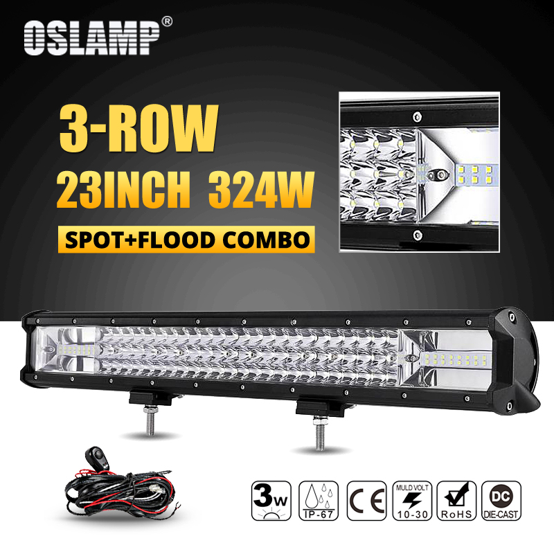 Oslamp 23inch 324W 3-Row LED Work Light Bar Combo Beam Offroad Led Light Bar 12v 24v Led Bar Driving Lamp Truck SUV ATV 4x4 4WD рюкзак городской polar цвет серый 16 л п7074 06