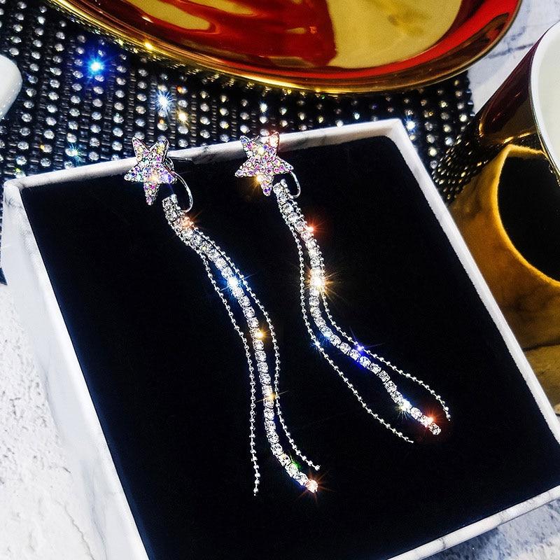 Simple Long Star Cute Tassel Rhinestone Hanging Earrings For Women Luxury Geometric Crystal Drop Earrings Trendy Female Earrings in Drop Earrings from Jewelry Accessories