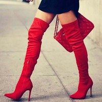 Brand New New Autumn Winter over the knee boots thin high heels shoes sexy party boot woman flock Pumps Big plus size 45 PP 90