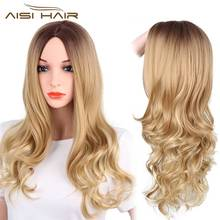 Synthetic Long Wavy Dark Brown Blond Wig Heat Resistant Fiber